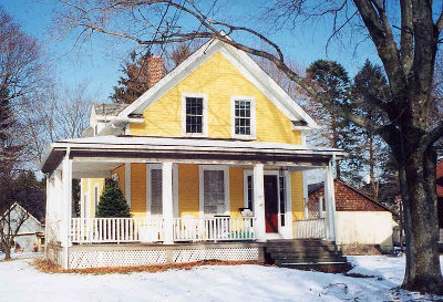 Gable-front house in winter